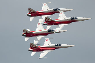 Air show - The Patrouille Suisse performing at the ILA Berlin Air Show