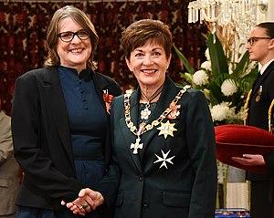 Paula Green (poet) - Paula Green (left) receives MNZM