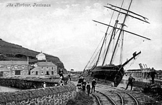 Pentewan Railway - Pentewan Railway with 3-masted sailing ship, approx. 1905
