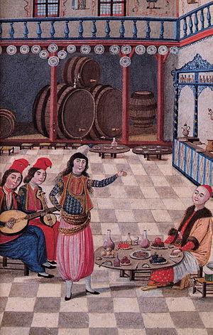 Köçek - Performing Köçek, illustration from Hubanname by Enderûnlu Fâzıl, 18th century