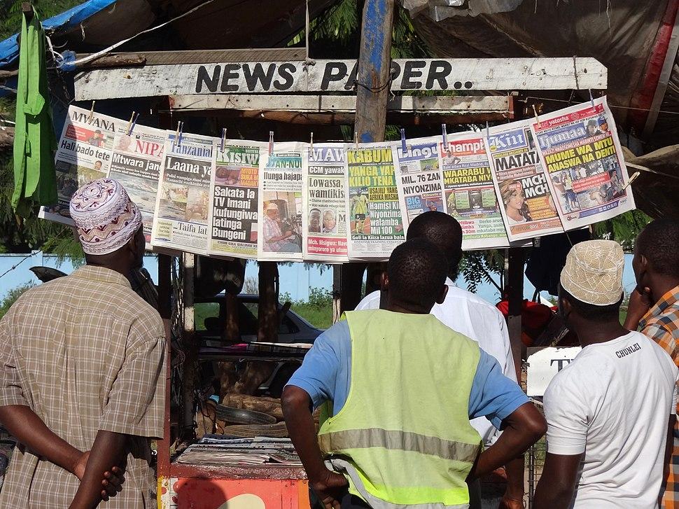 Perusing Papers at a Newsstand - Near Mwenge - Tanzania