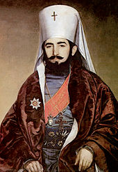 Painting of bearded young man with white Orthodox hat