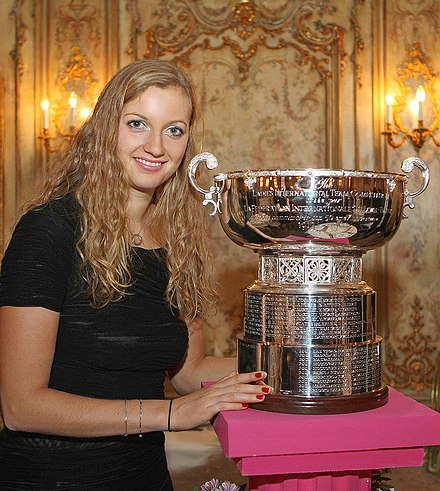 Petra Kvitova with the trophy for the Fed Cup winners, 2011, Moscow Petra Kvitova Fed Cup 2011 Winner.jpg