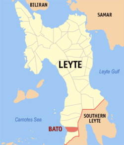 Map of Leyte with Bato highlighted