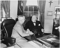 Photograph of President Truman and British Prime Minister Winston Churchill conferring in the Oval Office, during... - NARA - 200349.tif