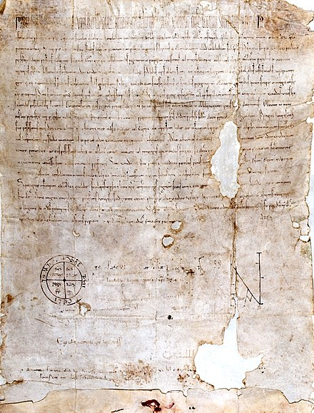 """Piae Postulatio Voluntatis"". Bull issued by Pope Paschal II in 1113 in favour of the Order of St. John of Jerusalem, which was to transform what was a community of pious men into an institution within the Church. By virtue of this document, the pope officially recognized the existence of the new organisation as an operative and militant part of the Roman Catholic Church, granting it papal protection and confirming its properties in Europe and Asia. Piae Postulatio Voluntatis bull of Pope Paschal II, 1113.jpg"