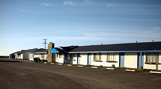 Piedras Blancas Motel - The Piedras Blancas Motel, 2010. The blue canopy marks the former office.