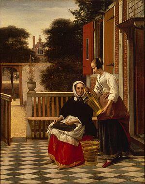 A Woman with a Basket of Beans in a Garden - Image: Pieter de Hooch 002