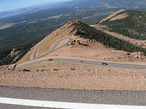 Pikes Peak Highway - The winding Pikes Peak Highway, looking down from 13,000 feet at milepost 16 September 2011