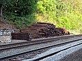 Pile of ties on former Shawsheen Village station platform, June 2015.JPG