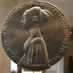 Medal - Obverse of medal distributed by Cecilia Gonzaga's family to political allies, a common practice in Renaissance Europe. Designed by Pisanello in 1447.