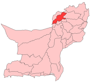Map of Balochistan with Pishin District highlighted