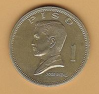 Rizal appears on the obverse side of the Philippine peso coin