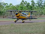 Pitts S-2B Special (VH-ZZZ) landing at Emkaytee (MKT) Airfield in November 2012 (2).jpg