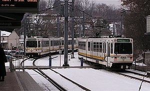 Port Authority of Allegheny County - Port Authority light rail train, Washington Junction Station, March 2005.