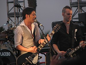 Placebo (band) - Molko and Olsdal at Coachella Festival in April 2007. Steve Hewitt and most of his drum kit are out of view.