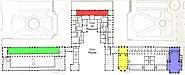 Plans du rez-de-chaussée et du premier étage du palais de Versailles, Éditeur Gavard, premier étage - Gallica 2011 (detail, color-coded)