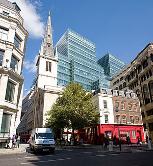 Plantation Place - Plantation Place and neighbouring church St Margaret Pattens