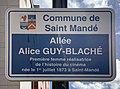Plaque Allée Alice Guy Blaché - Saint-Mandé (FR94) - 2020-10-04 - 2.jpg