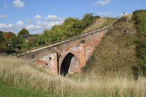 Pleshey - The motte and 15th century brick bridge at Pleshey Castle.