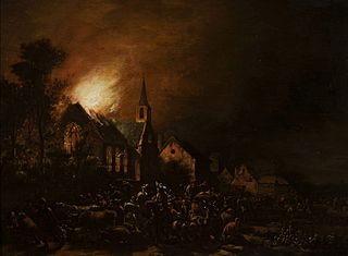 Fire of a church with staffage and cattle.