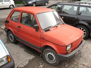 Polski Fiat 126 BIS on Rotmistrza Zbigniewa Dunin-Wąsowicza street in Kraków.jpg