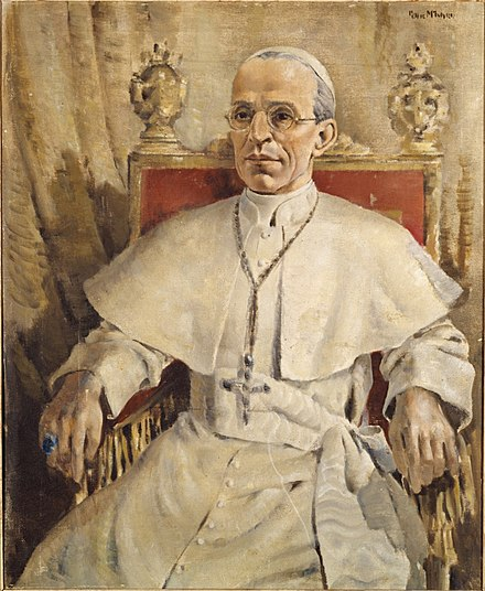 Pope Pius XII by Peter McIntyre (artist) c.1943-1944 Pope Pius XII by Peter McIntyre (10044850276).jpg