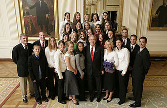 Stephanie Cox - Cox with the Portland women's soccer team at the White House, April 6, 2006