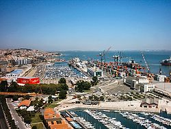 The port of Lisbon, the terminus of activities in the Region of Lisboa, that extends into Tagus estuary