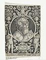 Portret van koning Arthur in medaillon binnen rechthoekige omlijsting met ornamenten Artus Rex (titel op object) De negen besten (serietitel), RP-P-BI-5040.jpg