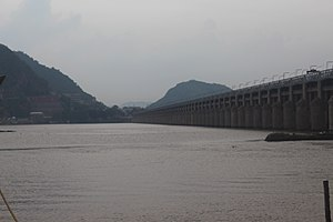 Prakasam Barrage - View of Barrage from boating area
