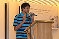 Pratyya Ghosh sharing his experiences at Wikipedia15 celebration in BSK (01).jpg
