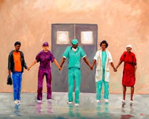 Ted Ellis (artist) - Prayers Heal depicts a surgeon who later bought it.