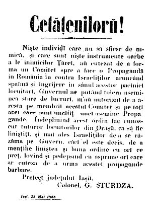 "Free and Independent Faction - Grigore Sturdza's proclamation upon retaking control of Iași in May 1866, condemning the ""barbaric propaganda"" of local antisemites"