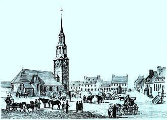 History of Montreal - Depiction of the first church in Fort Ville-Marie in the 1640s. The settlement was established in 1642 under the authority of Société Notre-Dame de Montréal.