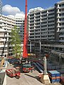 Preparations for building the public entrance of the temporary Dutch Parliament, installing even more roof support, 29 May.jpg