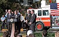 President George W. Bush speaks during a ceremony held to honor the gift of a new firetruck for the city of New York.jpg
