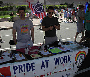 Pride at Work - Pride at Work members distribute literature and educate the public about union organizing campaigns affecting LGBTQ workers at the Capital Pride street festival in Washington, D.C., on June 14, 2009.
