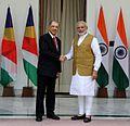 Prime Minister Narendra Modi and Seychelles President James Michel in New Delhi.jpg
