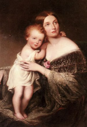 Princess Marie Amelie of Baden - Princess Marie with one of her children