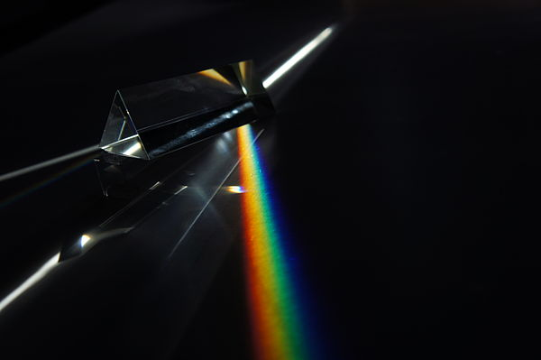 Dispersion of light (photons) by a prism. Prism flat rainbow.jpg