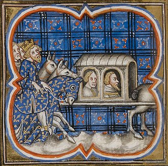 Battle of Bouvines - Ferrand of Flanders and Renaud of Boulogne being conveyed as prisoners to Paris in a 14th-century illustration. Ferrand was released in 1227 and died soon after of a disease contracted in prison. Renaud was kept in chains and committed suicide in 1227.