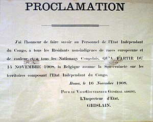 Théophile Wahis - Poster proclaiming the Congo Free State's annexation by Belgium in November 1908