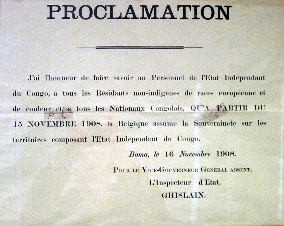 Proclamation on the founding of the Belgian Congo