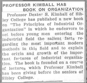 Dexter S. Kimball - Article in The Cornell Daily Sun, 16 Feb. 1914.