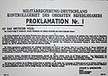 Proklamation Nr. 1 - Zweisprachige Bekanntmachung des Obersten Befehlshabers der alliierten Streitkräfte Dwight D. Eisenhower (deutschsprachiger Teil).jpg