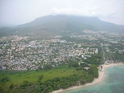 View from the air of Puerto Plata and the Isabel de Torres mountain