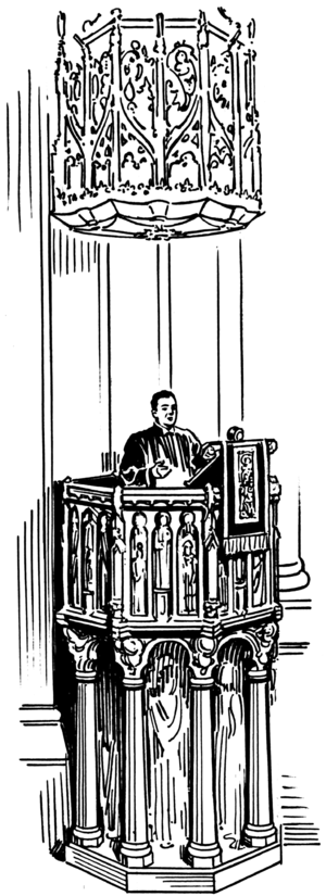 Line art drawing of a pulpit.