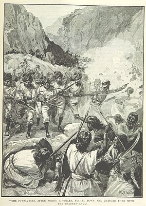 Battle of Magdala - Indian troops charge the Abyssinian lines at Arogye (illustration from a British book)
