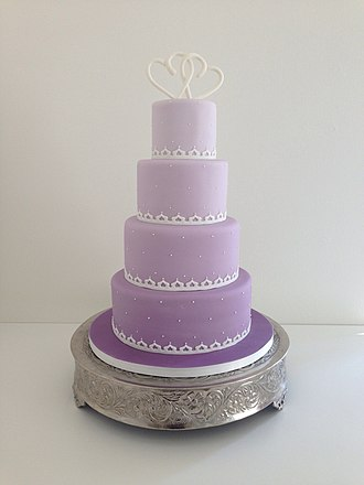 Ombré - A cake with purple ombré frosting.